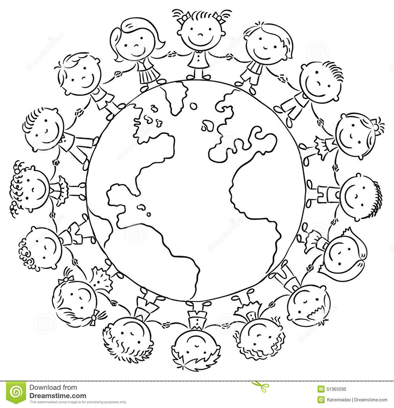 Дети на земном шаре раскраска